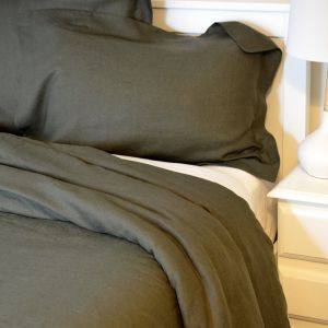 Khaki Stonewash Linen | Single Doona and 2 Pillowcase set