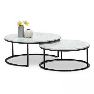 Khloe White Marble Round Nest Coffee Table | Black