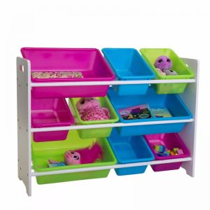 Kids Storage Unit with 9 Multi-Coloured Bins