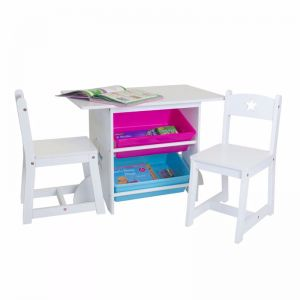Kids Table and Chair Set with Large Storage Bins