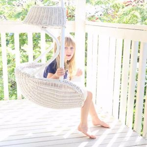 Kids White Hanging Chair 90cm Tall