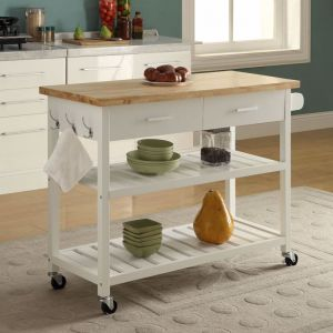 Kitchen Island Trolley With Open Shelves | White