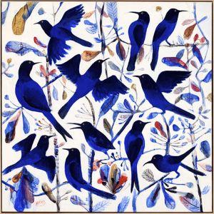 "Kitti Narod ""Bluebirds #1""   Framed Giclee print on Canvas by Tusk Gallery"