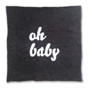 Knitted Oh Baby Blanket by Homely Creatures | Grey & Cream