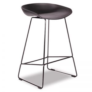 Kobe Stool Black Sled Base Frame | Black Shell Seat
