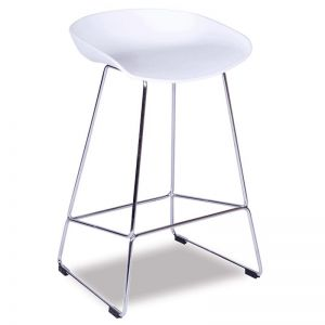 Kobe Stool Chrome Frame | White Shell Seat