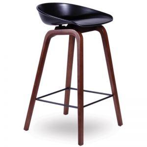 Kobe Stool | Walnut American Ash Frame | Black Shell Seat