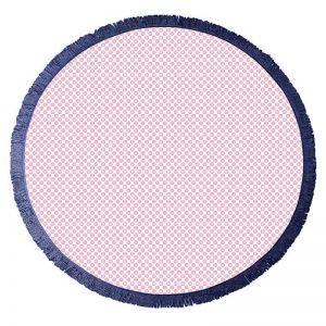Koel Round Turkish Towel   Pink/Navy