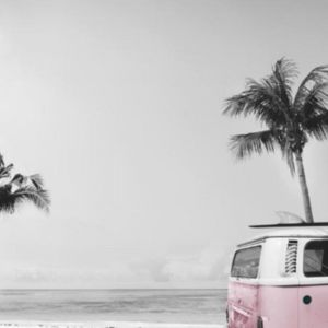 Kombi Mural Pink Wallpaper