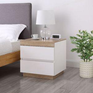 Kooper White Wooden Bedside Table