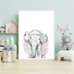 Lacey the Elephant by Pick a Pear | Framed Wall Art