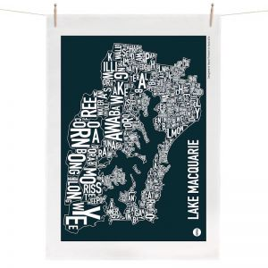 Lake Macquarie Map | Tea Towel by Burbia