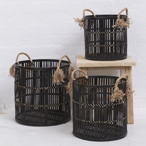 Lali Black Rattan Basket with Rope Handles | Pre Order