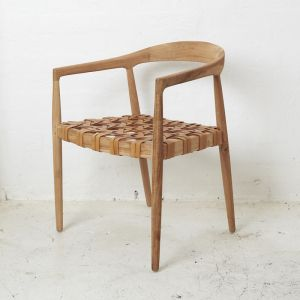 Larah Leather & Teak Chair l Custom Made