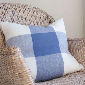 Large Linen Blue Check Cushion Cover