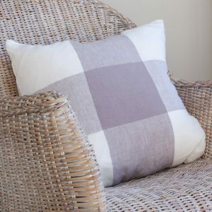 Large Linen Grey Check Cushion Cover