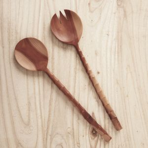 Large Recycled Sapodilla Wood Salad Servers l Pre Order