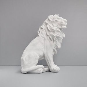 Large Sitting Lion | White