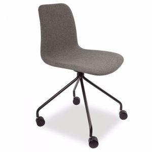 Lars Chair | Light Grey Fabric | Black Legs with Castors