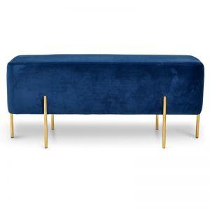 Latham 1m Ottoman | Blue Velvet Seat