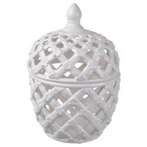 Lattice Decorative Lidded Jar | Tall | by Dasch Design