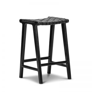 Lazie Leather Strapping Bar Stool | Black | 66cm