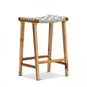 Lazie Leather Strapping Bar Stool | Teak & Light Grey | 66cm
