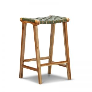 Lazie Leather Strapping Bar Stool | Teak & Olive Green | 66cm