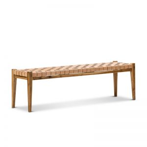 Lazie Leather Strapping Bench | Teak & Natural Tan