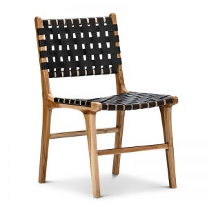 Lazie Leather Strapping Dining Chair | Teak & Black | Set of 2