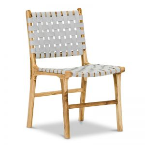 Lazie Leather Strapping Dining Chair | Teak & Light Grey (Set of 2)