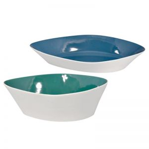 Leaf Ceramic Bowl | CLU Living | Large | White with Blue