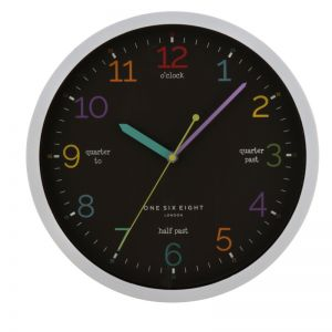 Learn The Time Wall Clock | Silent | 30cm | Black | One Six Eight London