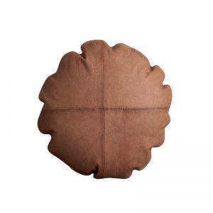 Leather Button Cushion | Tan | BY SEA TRIBE