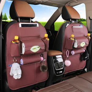 Leather Car Back Seat Storage Bag Multi-Pocket Organizer Backseat and iPad Mini Holder Red