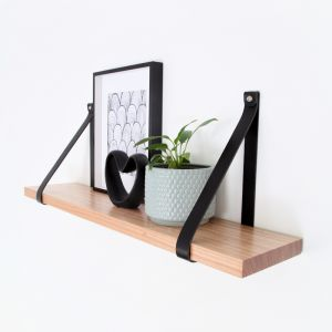 Leather Strap Shelf 70cm | Black Leather | Jemmervale Designs