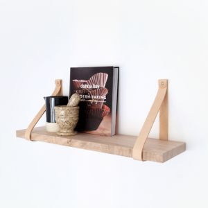 Leather Strap Shelf | 90cm | Natural Leather | Jemmervale Designs