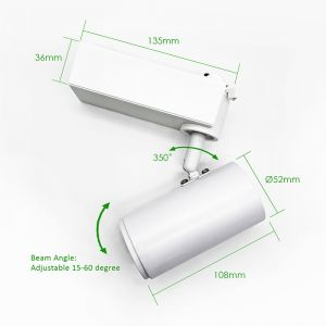 LED 12W Single Circuit Non-Dimmable Track Spot Light | 4000K | White Fitting | Set of 10