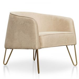 Lena Armchair In Beige | Golden Legs