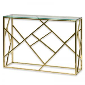 Lenard Glass Console Table | Brushed Gold Base | Interior Secrets