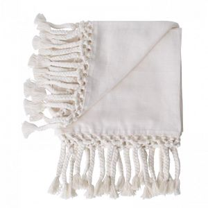 Leni Linen Throw   Ivory   BY SEA TRIBE