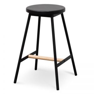 Leo Black Timber Seat Bar Stool | Black Frame | Interior Secrets