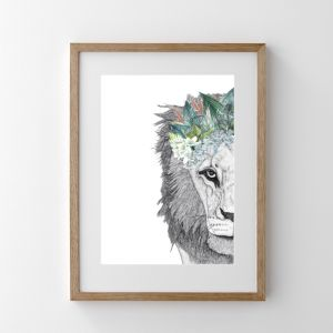 Leo the Lion with Foliage Crown | Print