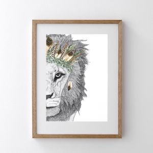 Leo the Lion with Luxe Feather Crown | Art Print | Dots by Donna