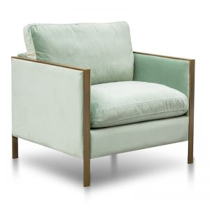 Leona Fabric Arm Chair | Light Green Velvet