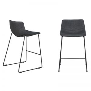 Levi Bar Stool | Charcoal Fabric | Black Frame