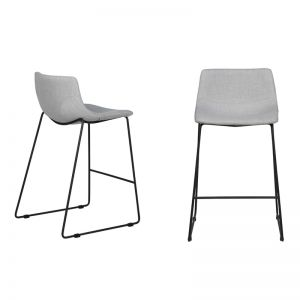 Levi Bar Stool | Pearl Grey Fabric | Black Frame