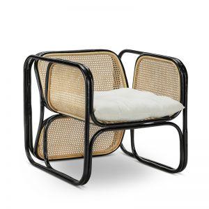 Lexie Woven Rattan Cane Lounger Armchair | Black