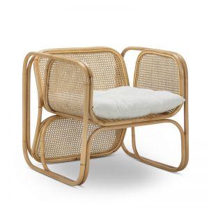 Lexie Woven Rattan Cane Lounger Armchair | Natural