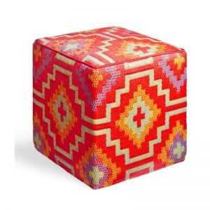 Lhasa Orange | Indoor-Outdoor Ottoman | Fab Habitat